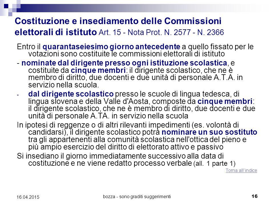 bozza - sono graditi suggerimenti16 16.04.2015 Costituzione e insediamento delle Commissioni elettorali di istituto Art. 15 - Nota Prot. N. 2577 - N.
