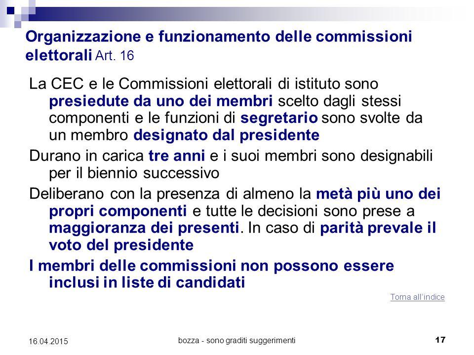 bozza - sono graditi suggerimenti17 16.04.2015 Organizzazione e funzionamento delle commissioni elettorali Art. 16 La CEC e le Commissioni elettorali