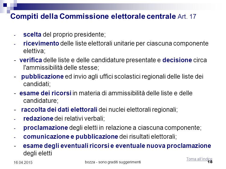 bozza - sono graditi suggerimenti18 16.04.2015 Compiti della Commissione elettorale centrale Art. 17 - scelta del proprio presidente; - ricevimento de