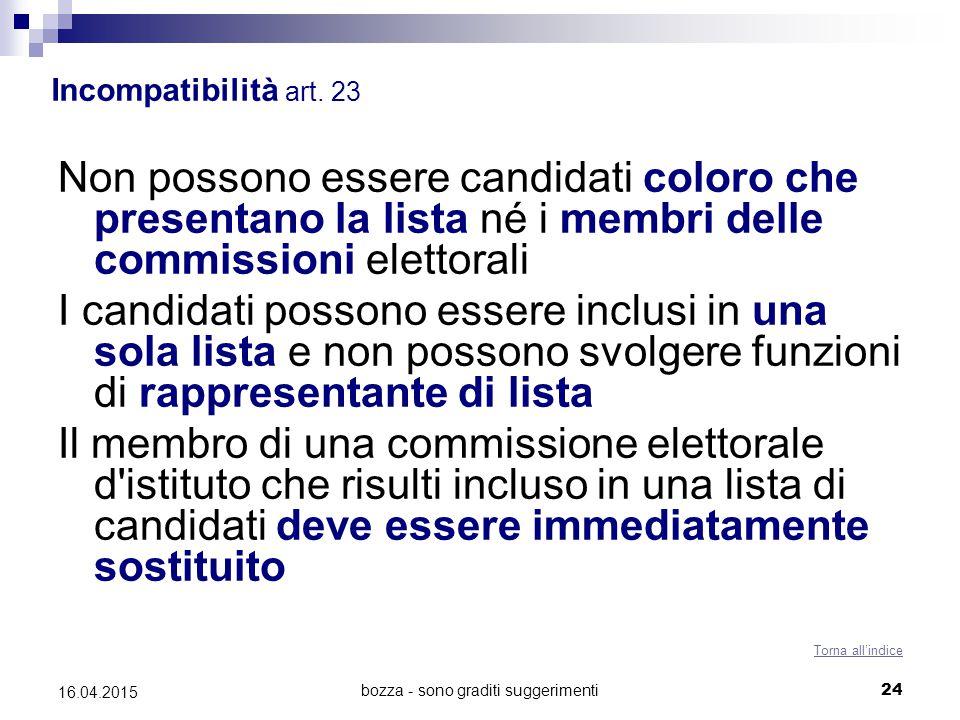 bozza - sono graditi suggerimenti24 16.04.2015 Incompatibilità art. 23 Non possono essere candidati coloro che presentano la lista né i membri delle c