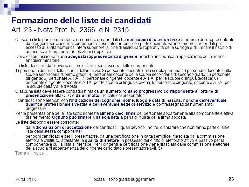 bozza - sono graditi suggerimenti26 16.04.2015 Formazione delle liste dei candidati Art. 23 - Nota Prot. N. 2366 e N. 2315 Ciascuna lista può comprend