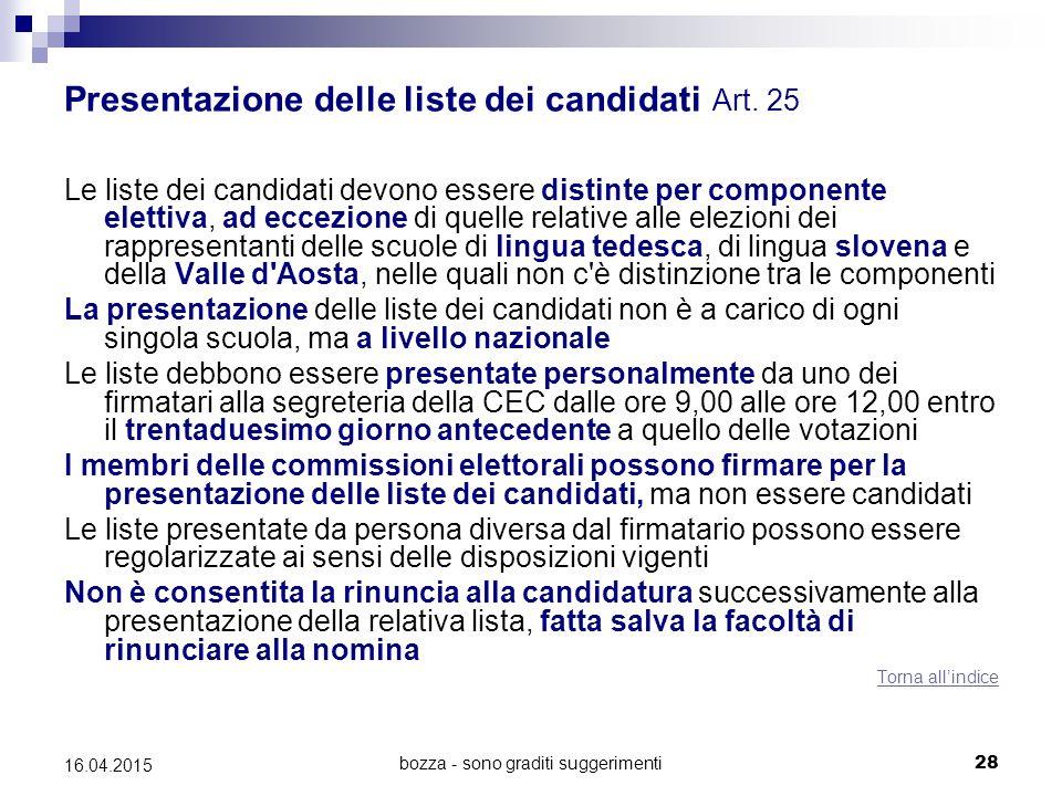 bozza - sono graditi suggerimenti28 16.04.2015 Presentazione delle liste dei candidati Art. 25 Le liste dei candidati devono essere distinte per compo