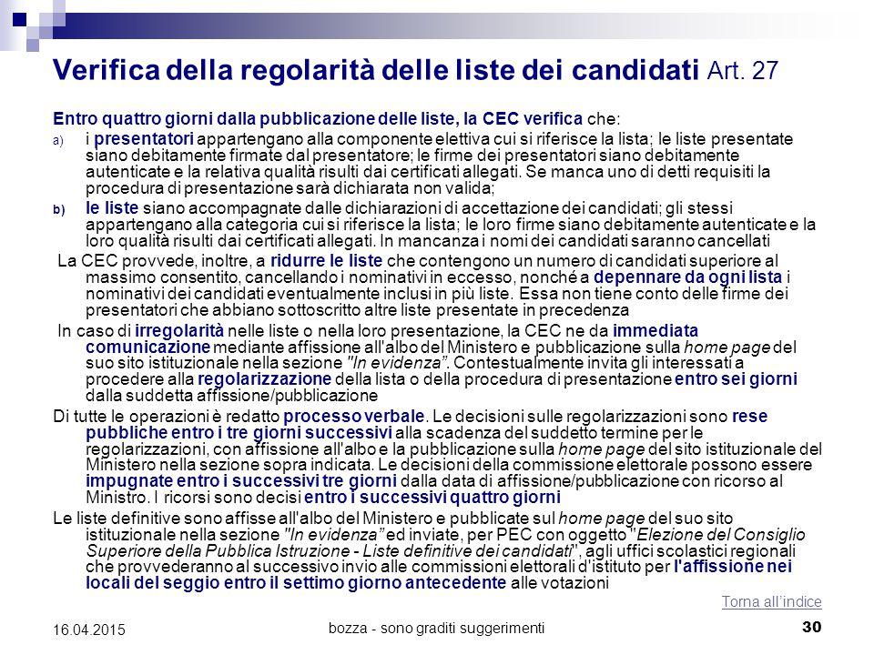 bozza - sono graditi suggerimenti30 16.04.2015 Verifica della regolarità delle liste dei candidati Art. 27 Entro quattro giorni dalla pubblicazione de