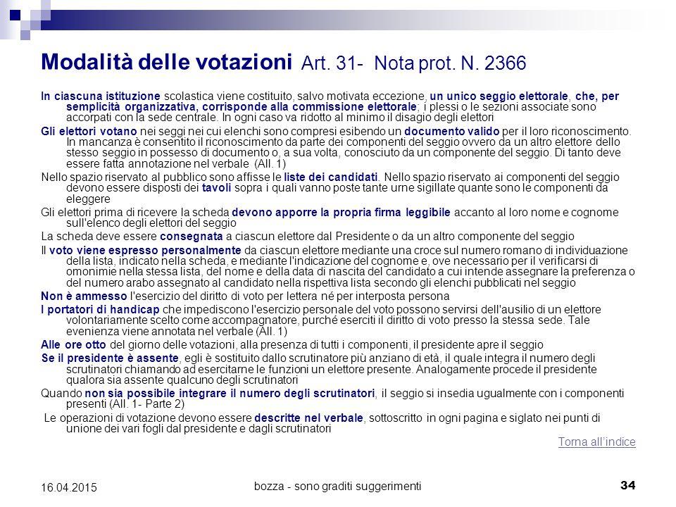 bozza - sono graditi suggerimenti34 16.04.2015 Modalità delle votazioni Art. 31- Nota prot. N. 2366 In ciascuna istituzione scolastica viene costituit