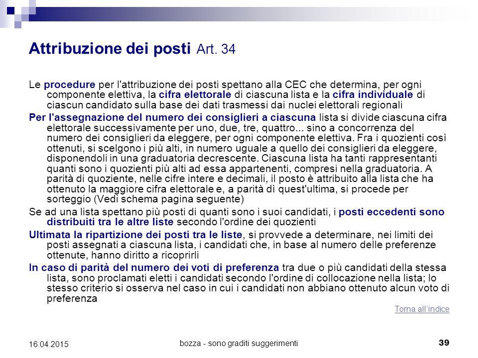 bozza - sono graditi suggerimenti39 16.04.2015 Attribuzione dei posti Art. 34 Le procedure per l'attribuzione dei posti spettano alla CEC che determin