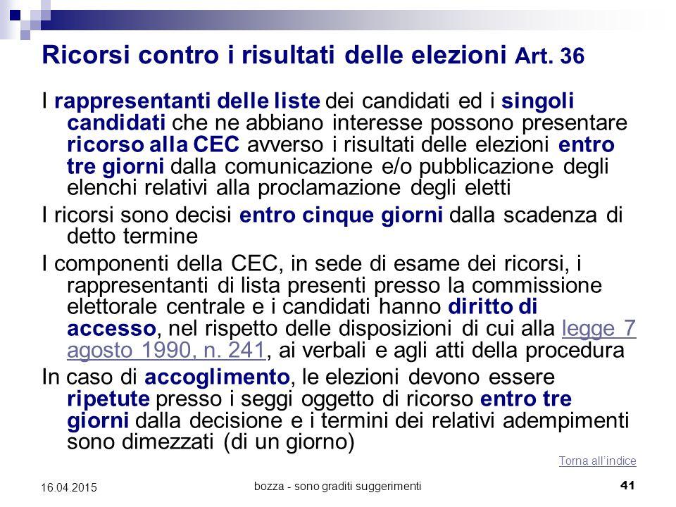 bozza - sono graditi suggerimenti41 16.04.2015 Ricorsi contro i risultati delle elezioni Art. 36 I rappresentanti delle liste dei candidati ed i singo