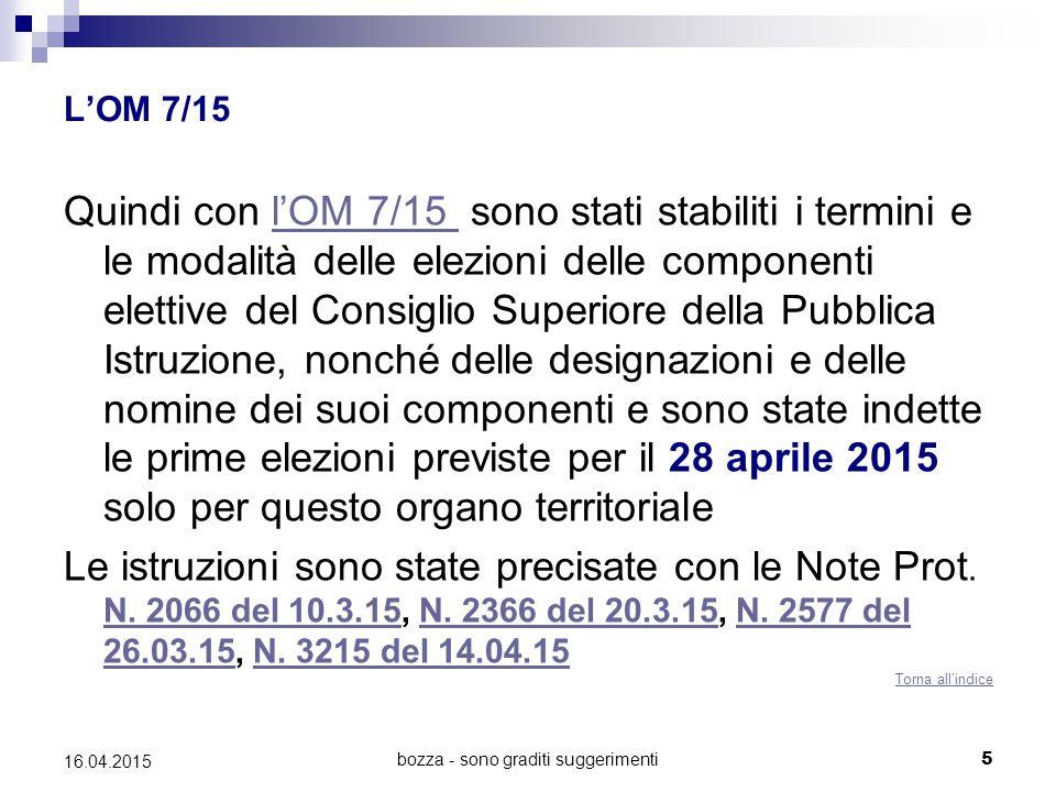 bozza - sono graditi suggerimenti5 16.04.2015 L'OM 7/15 Quindi con l'OM 7/15 sono stati stabiliti i termini e le modalità delle elezioni delle compone