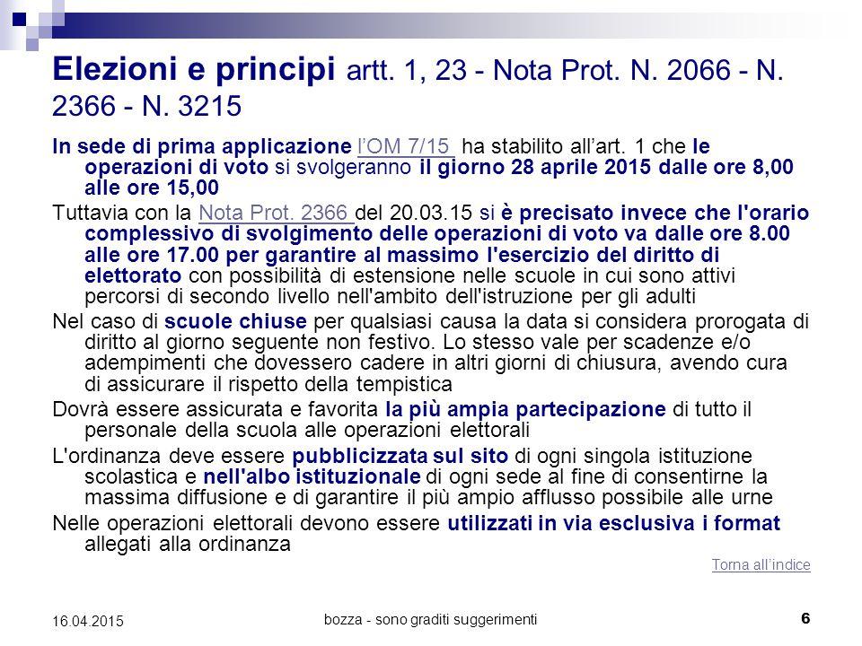 bozza - sono graditi suggerimenti6 16.04.2015 Elezioni e principi artt. 1, 23 - Nota Prot. N. 2066 - N. 2366 - N. 3215 In sede di prima applicazione l