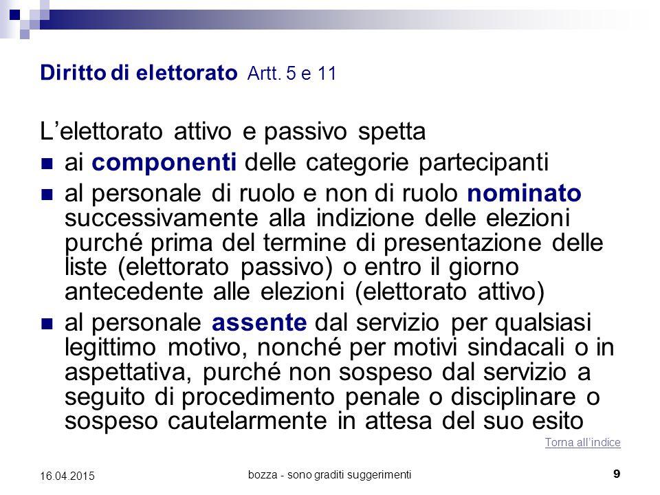 bozza - sono graditi suggerimenti9 16.04.2015 Diritto di elettorato Artt. 5 e 11 L'elettorato attivo e passivo spetta ai componenti delle categorie pa