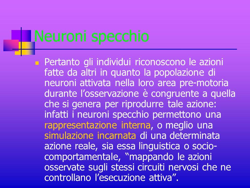 Neuroni specchio Pertanto gli individui riconoscono le azioni fatte da altri in quanto la popolazione di neuroni attivata nella loro area pre-motoria