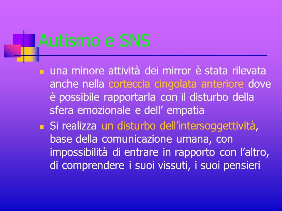 Autismo e SNS una minore attività dei mirror è stata rilevata anche nella corteccia cingolata anteriore dove è possibile rapportarla con il disturbo d