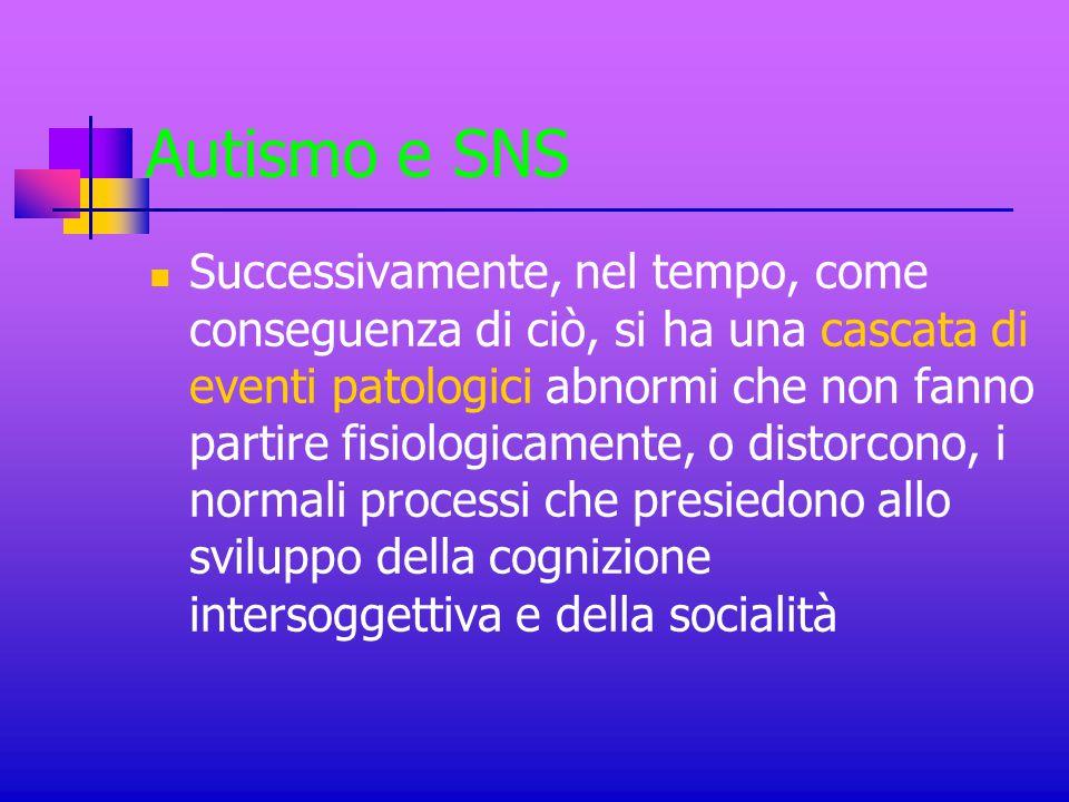 Autismo e SNS Successivamente, nel tempo, come conseguenza di ciò, si ha una cascata di eventi patologici abnormi che non fanno partire fisiologicamen