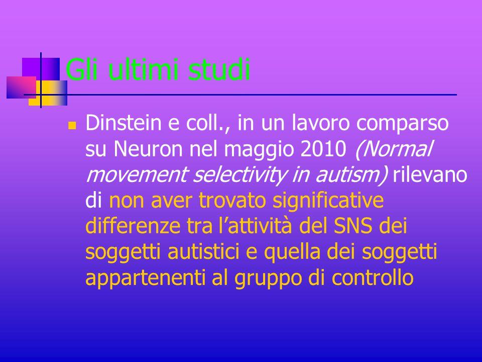Gli ultimi studi Dinstein e coll., in un lavoro comparso su Neuron nel maggio 2010 (Normal movement selectivity in autism) rilevano di non aver trovat