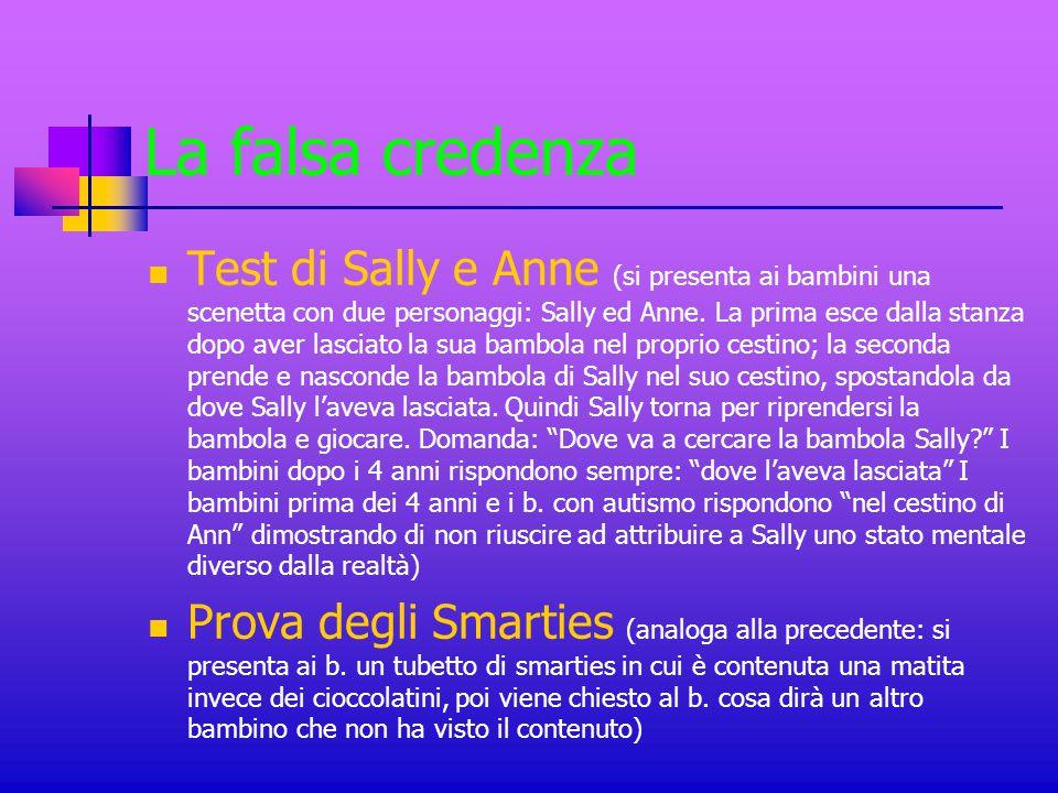 La falsa credenza Test di Sally e Anne (si presenta ai bambini una scenetta con due personaggi: Sally ed Anne. La prima esce dalla stanza dopo aver la