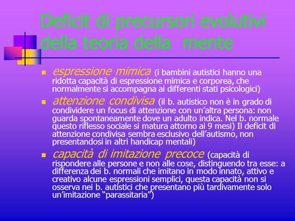 Deficit di precursori evolutivi della teoria della mente espressione mimica ( i bambini autistici hanno una ridotta capacità di espressione mimica e c