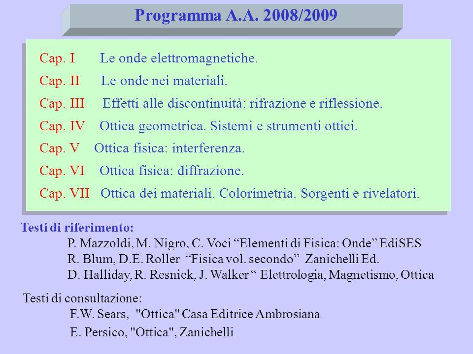 Programma A.A. 2008/2009 Cap. I Le onde elettromagnetiche. Cap. II Le onde nei materiali. Cap. III Effetti alle discontinuità: rifrazione e riflession