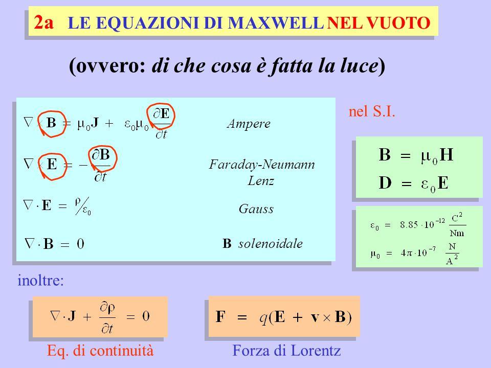 Forza di Lorentz 2a LE EQUAZIONI DI MAXWELL NEL VUOTO nel S.I. Ampere Faraday-Neumann Lenz B solenoidale Gauss Eq. di continuità inoltre: (ovvero: di