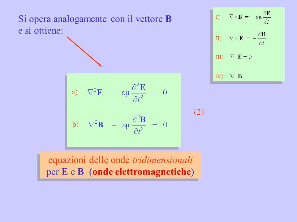 Si opera analogamente con il vettore B e si ottiene: equazioni delle onde tridimensionali per E e B (onde elettromagnetiche) equazioni delle onde tridimensionali per E e B (onde elettromagnetiche) I) II) III) IV) (2) a) b)