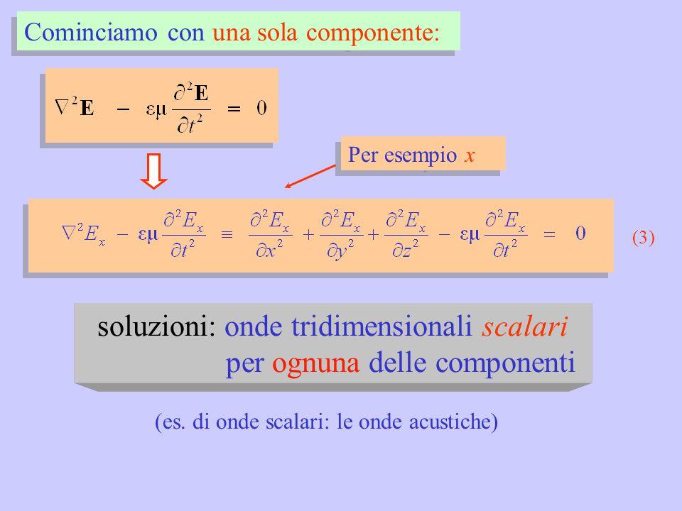 Cominciamo con una sola componente: Per esempio x (3) soluzioni: onde tridimensionali scalari per ognuna delle componenti (es. di onde scalari: le ond