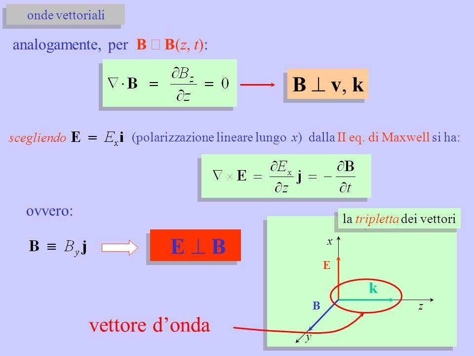 analogamente, per B  B(z, t): B  v, k scegliendo (polarizzazione lineare lungo x) dalla II eq. di Maxwell si ha: onde vettoriali ovvero: E  B E B k
