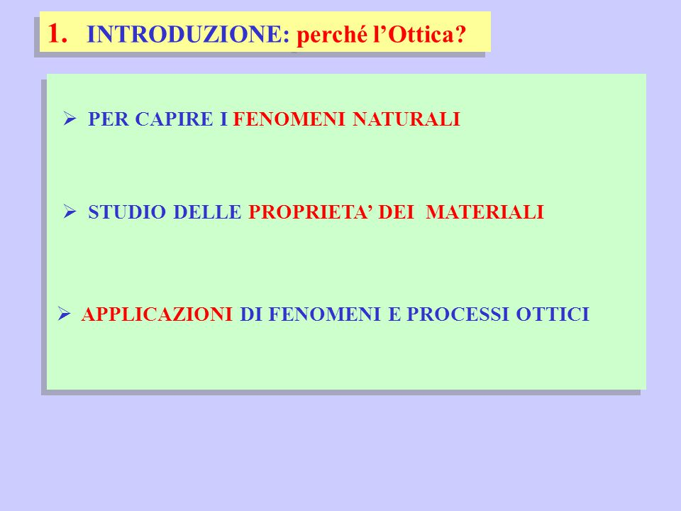  PER CAPIRE I FENOMENI NATURALI 1.INTRODUZIONE: perché l'Ottica.