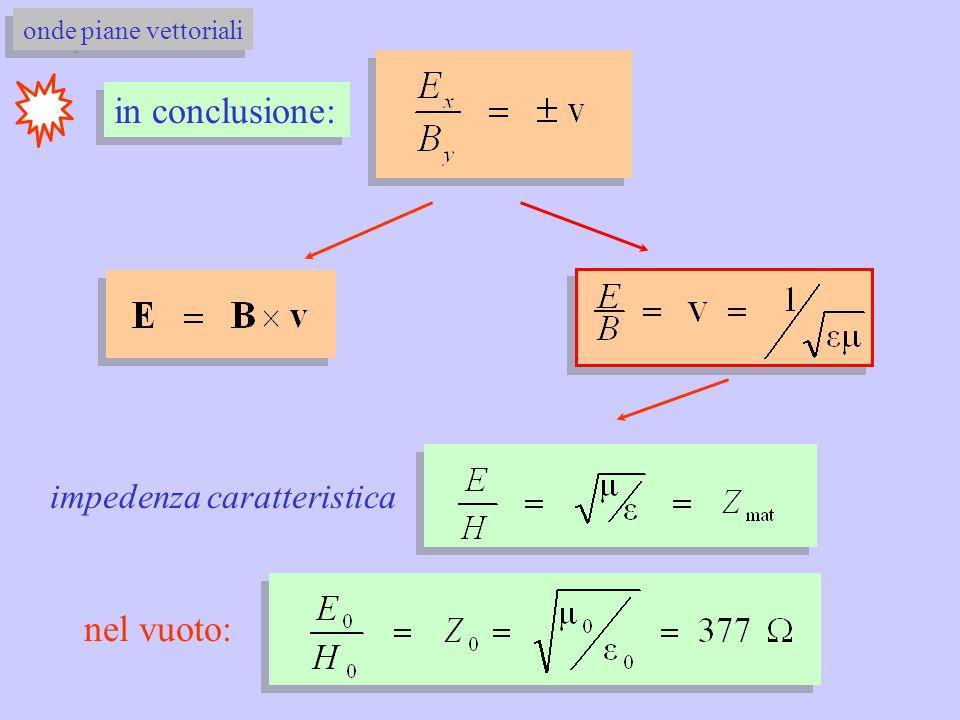 in conclusione: onde piane vettoriali impedenza caratteristica nel vuoto: