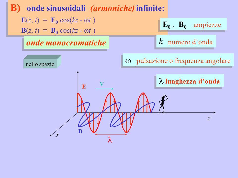 B) onde sinusoidali (armoniche) infinite: E(z, t) = E 0 cos(kz -  t ) B(z, t) = B 0 cos(kz -  t ) B) onde sinusoidali (armoniche) infinite: E(z, t) = E 0 cos(kz -  t ) B(z, t) = B 0 cos(kz -  t ) x z E nello spazio onde monocromatiche v y B E 0, B 0 ampiezze  pulsazione o frequenza angolare k numero d'onda lunghezza d'onda