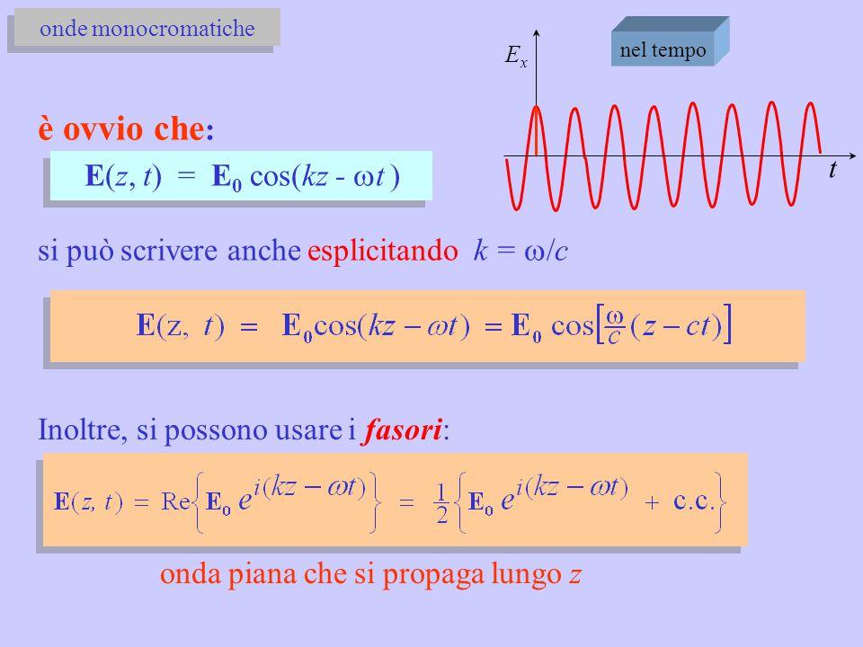 è ovvio che : E(z, t) = E 0 cos(kz -  t ) si può scrivere anche esplicitando k =  /c ExEx t nel tempo onde monocromatiche Inoltre, si possono usare