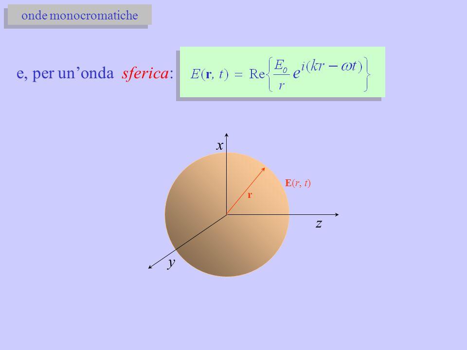 onde monocromatiche e, per un'onda sferica: E(r, t) x y r z