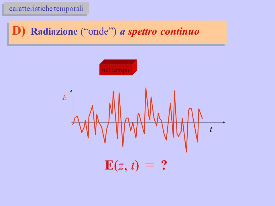 D) Radiazione ( onde ) a spettro continuo caratteristiche temporali nel tempo E t E(z, t) = ?