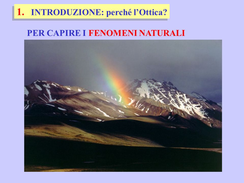 PER CAPIRE I FENOMENI NATURALI 1. INTRODUZIONE: perché l'Ottica?