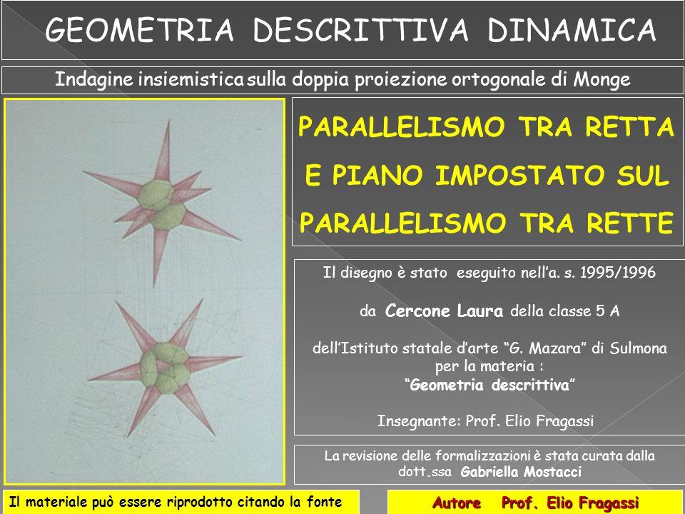 Piano  Elemento geometrico CARATTERISTICHE DEGLI ELEMENTI GEOMETRICI PARALLELISMO TRA RETTA E PIANO BASATO SUL PARALLELISMO TRA RETTTE Didascalia elemento Didascalia elemento rappresentativo Nomenclatura dell elemento rappresentativo t1t1 1 a traccia Retta Reale t2t2 2 a traccia Retta Reale Definizione geometrica elemento rapprsentativo Definizione fisica dell elemento rapprsentativo Definizione grafica e descrittiva degli elementi geometrici Relazione insiemistica sintetica delle leggi del parallelismo tra elementi geometrici diversi Formalizzazione esplicativa Formalizzazione applicativa Reale T 1r T 2r 1 a traccia 2 a traccia Punto r' r 1 a immagine o 1 a proiezione 2 a immagine o 2 a proiezione Retta Virtuale Retta r r//  r//s  r//s s  r  PP r //s r //s T 1s  t 1  T 2s  t 2  r//s ss r//s  r// 
