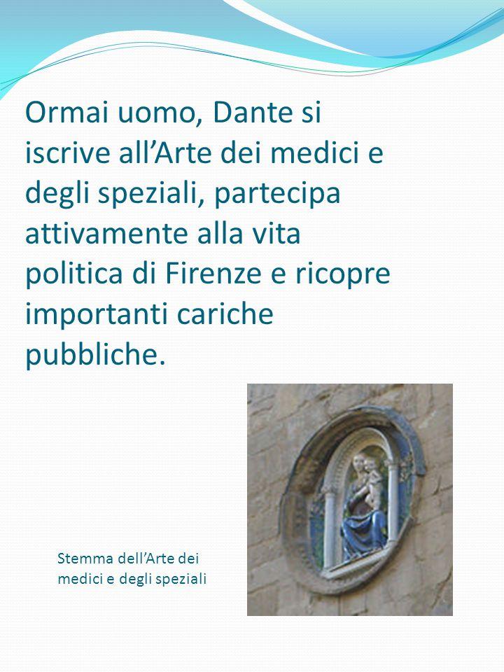 Ormai uomo, Dante si iscrive all'Arte dei medici e degli speziali, partecipa attivamente alla vita politica di Firenze e ricopre importanti cariche pu