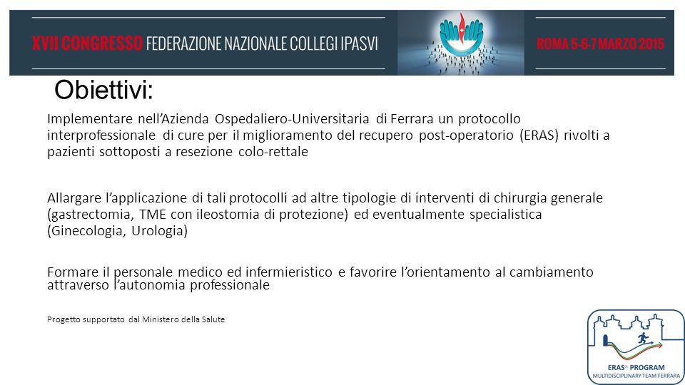 Obiettivi: Implementare nell'Azienda Ospedaliero-Universitaria di Ferrara un protocollo interprofessionale di cure per il miglioramento del recupero p