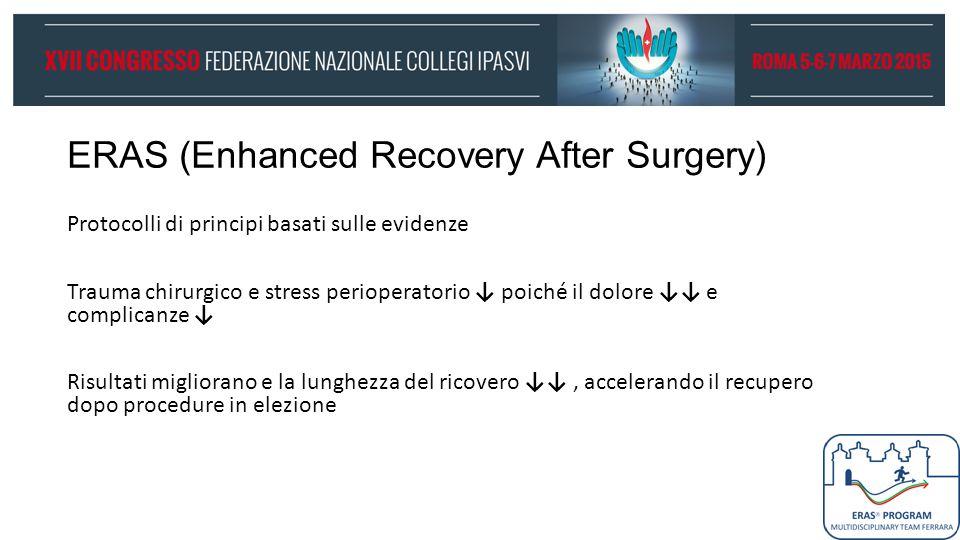 ERAS (Enhanced Recovery After Surgery) Protocolli di principi basati sulle evidenze Trauma chirurgico e stress perioperatorio ↓ poiché il dolore ↓↓ e