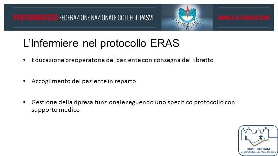 L'Infermiere nel protocollo ERAS Educazione preoperatoria del paziente con consegna del libretto Accoglimento del paziente in reparto Gestione della r