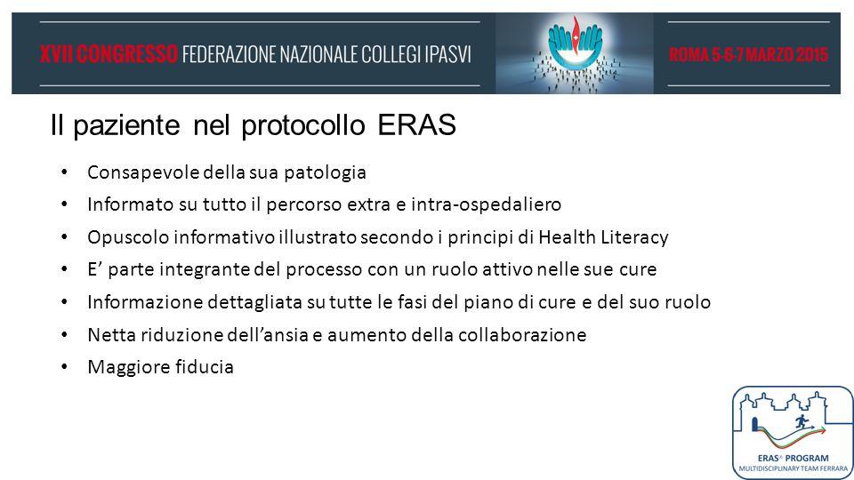 Il paziente nel protocollo ERAS Consapevole della sua patologia Informato su tutto il percorso extra e intra-ospedaliero Opuscolo informativo illustra