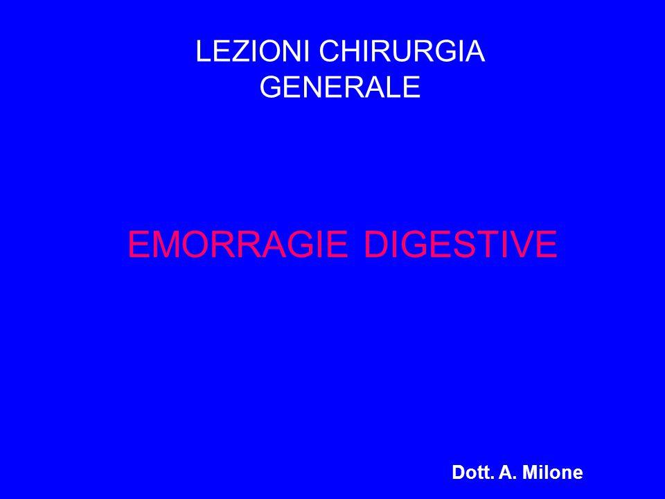 EMORRAGIE DIGESTIVE Dott. A. Milone LEZIONI CHIRURGIA GENERALE