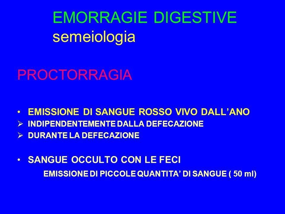 EMORRAGIE DIGESTIVE semeiologia PROCTORRAGIA EMISSIONE DI SANGUE ROSSO VIVO DALL'ANO  INDIPENDENTEMENTE DALLA DEFECAZIONE  DURANTE LA DEFECAZIONE SANGUE OCCULTO CON LE FECI EMISSIONE DI PICCOLE QUANTITA' DI SANGUE ( 50 ml)