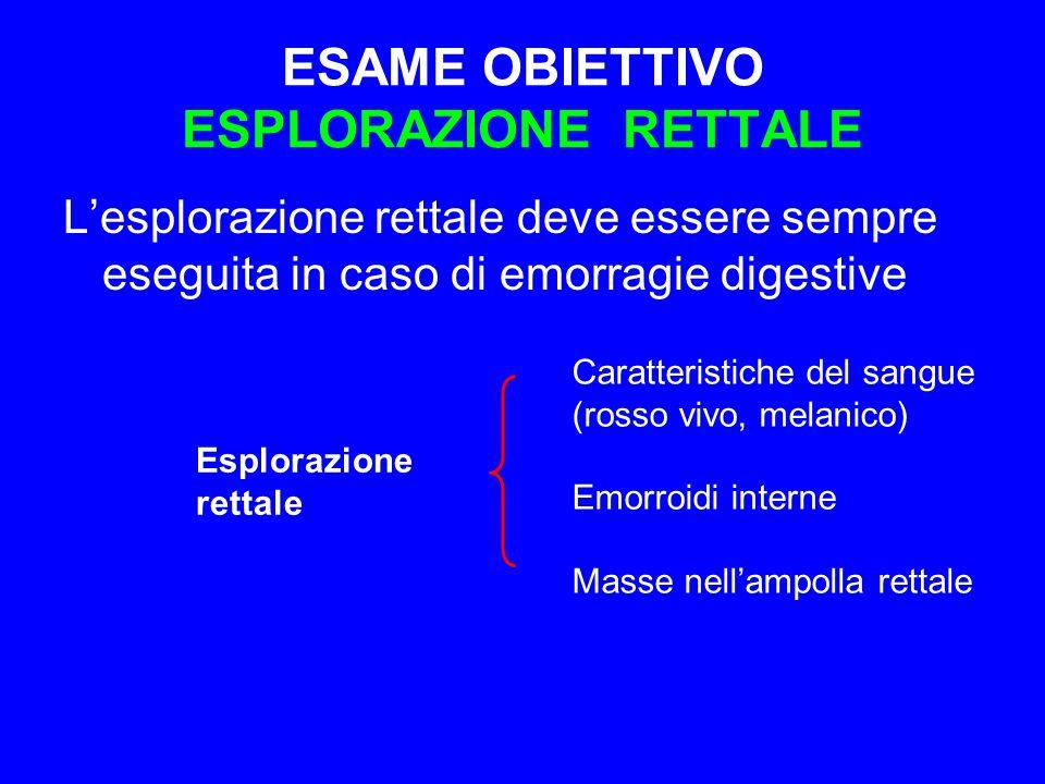 ESAME OBIETTIVO ESPLORAZIONE RETTALE L'esplorazione rettale deve essere sempre eseguita in caso di emorragie digestive Esplorazione rettale Caratteris