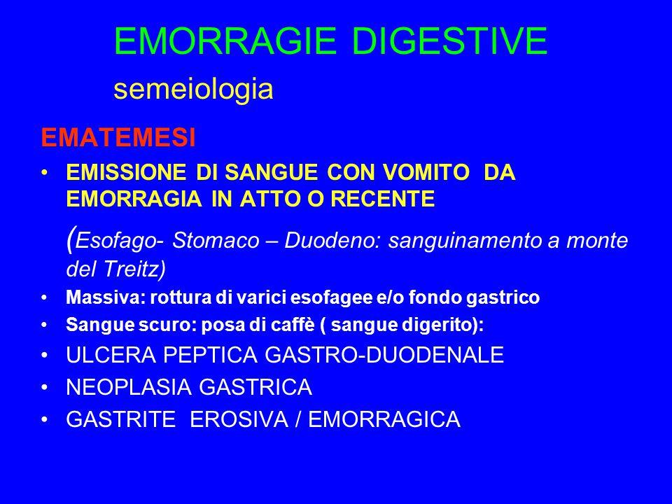 EMORRAGIE DIGESTIVE semeiologia EMATEMESI EMISSIONE DI SANGUE CON VOMITO DA EMORRAGIA IN ATTO O RECENTE ( Esofago- Stomaco – Duodeno: sanguinamento a monte del Treitz) Massiva: rottura di varici esofagee e/o fondo gastrico Sangue scuro: posa di caffè ( sangue digerito): ULCERA PEPTICA GASTRO-DUODENALE NEOPLASIA GASTRICA GASTRITE EROSIVA / EMORRAGICA