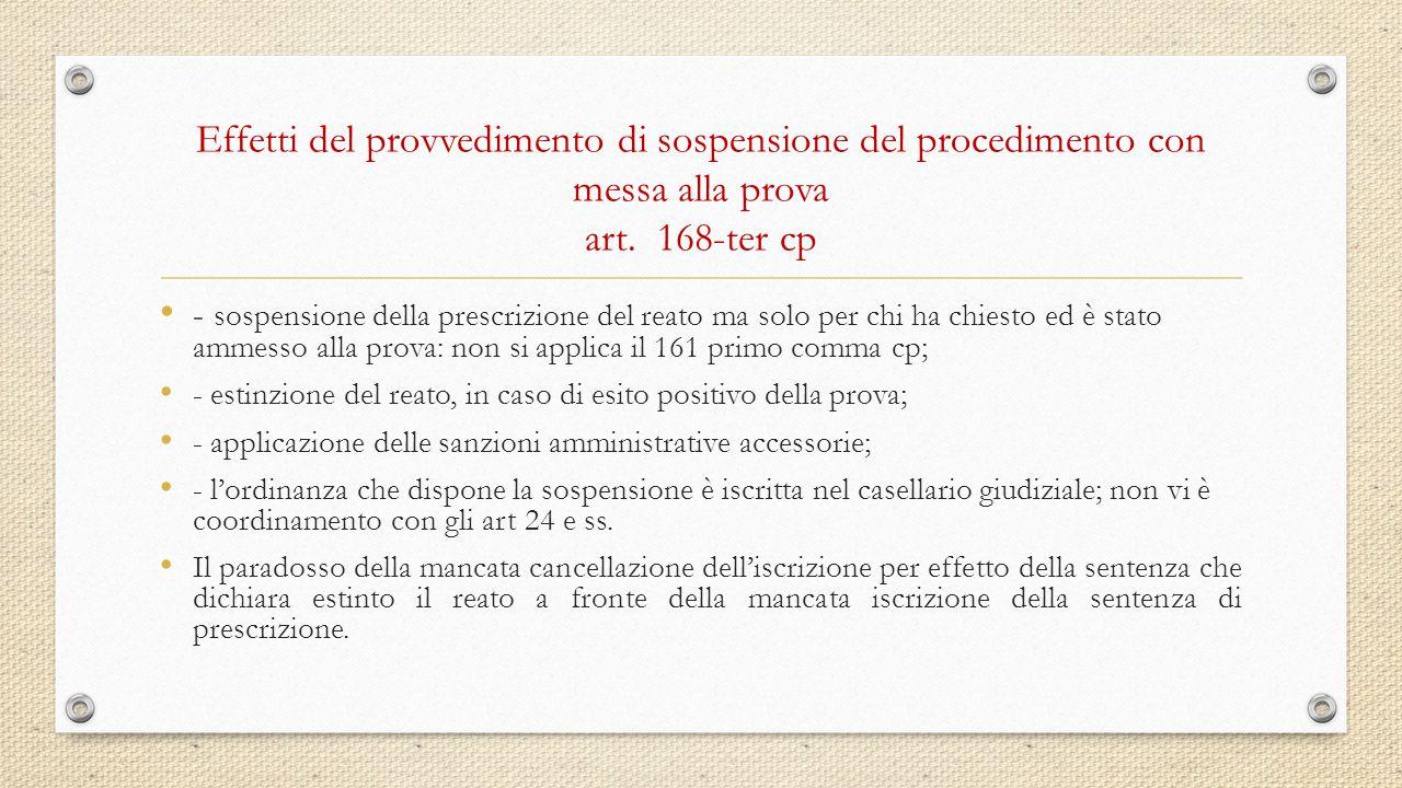 Effetti del provvedimento di sospensione del procedimento con messa alla prova art. 168-ter cp - sospensione della prescrizione del reato ma solo per