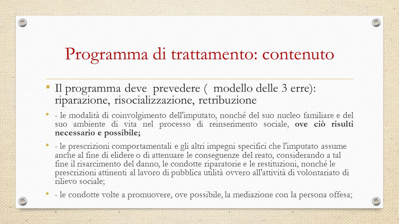 Programma di trattamento: contenuto Il programma deve prevedere ( modello delle 3 erre): riparazione, risocializzazione, retribuzione - le modalità di