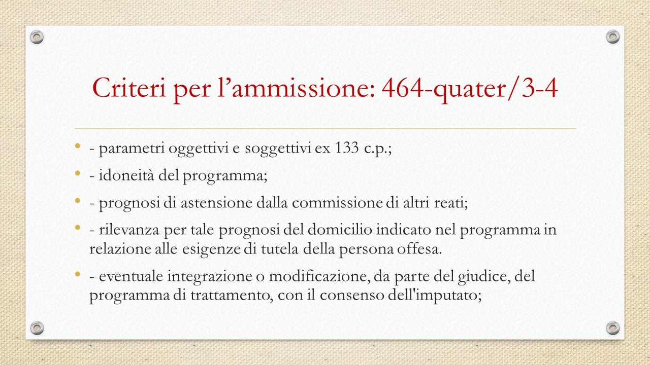 Criteri per l'ammissione: 464-quater/3-4 - parametri oggettivi e soggettivi ex 133 c.p.; - idoneità del programma; - prognosi di astensione dalla comm