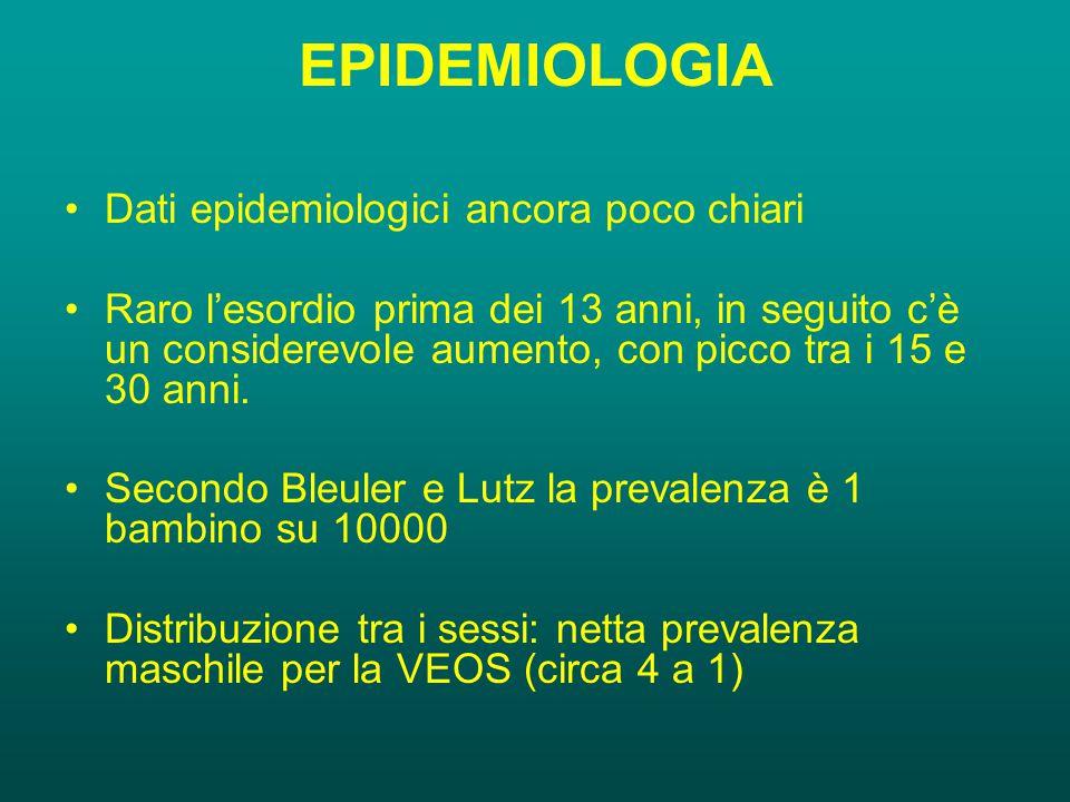 EPIDEMIOLOGIA Dati epidemiologici ancora poco chiari Raro l'esordio prima dei 13 anni, in seguito c'è un considerevole aumento, con picco tra i 15 e 30 anni.