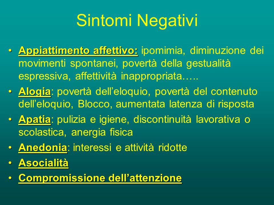 Sintomi Negativi Appiattimento affettivo:Appiattimento affettivo: ipomimia, diminuzione dei movimenti spontanei, povertà della gestualità espressiva, affettività inappropriata…..