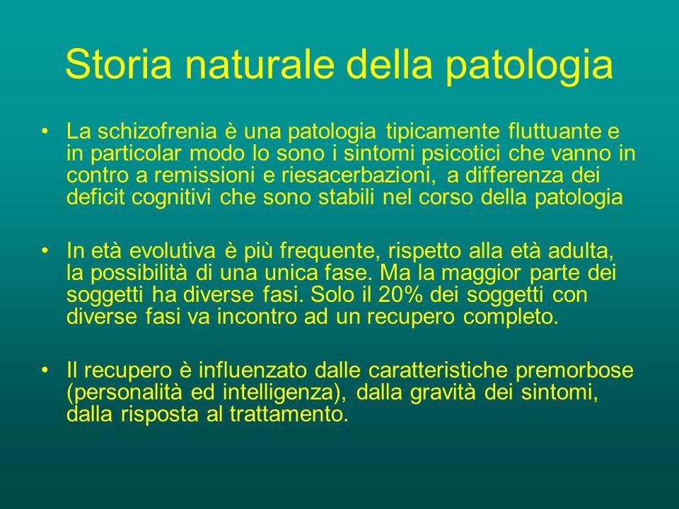 Storia naturale della patologia La schizofrenia è una patologia tipicamente fluttuante e in particolar modo lo sono i sintomi psicotici che vanno in contro a remissioni e riesacerbazioni, a differenza dei deficit cognitivi che sono stabili nel corso della patologia In età evolutiva è più frequente, rispetto alla età adulta, la possibilità di una unica fase.