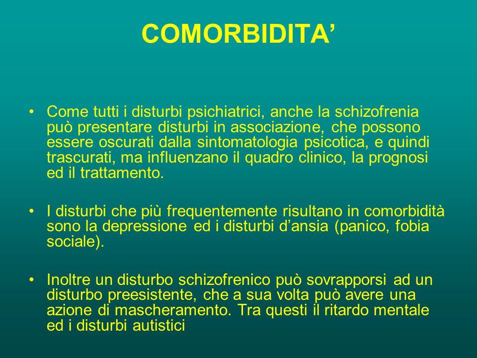 COMORBIDITA' Come tutti i disturbi psichiatrici, anche la schizofrenia può presentare disturbi in associazione, che possono essere oscurati dalla sintomatologia psicotica, e quindi trascurati, ma influenzano il quadro clinico, la prognosi ed il trattamento.