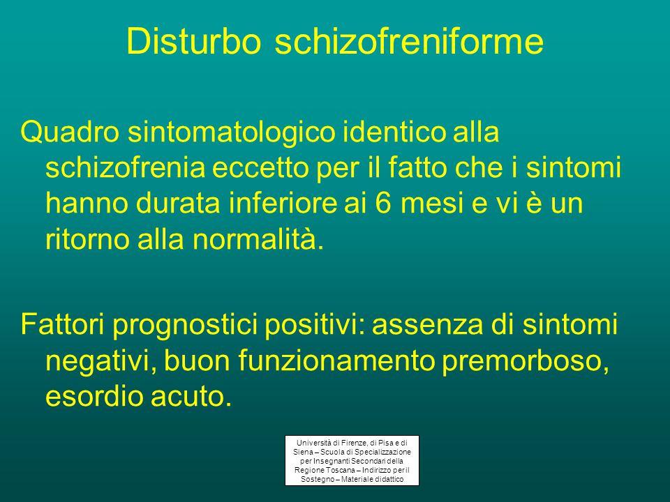 Disturbo schizofreniforme Quadro sintomatologico identico alla schizofrenia eccetto per il fatto che i sintomi hanno durata inferiore ai 6 mesi e vi è un ritorno alla normalità.