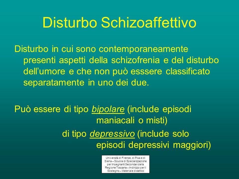 Disturbo Schizoaffettivo Disturbo in cui sono contemporaneamente presenti aspetti della schizofrenia e del disturbo dell'umore e che non può esssere classificato separatamente in uno dei due.
